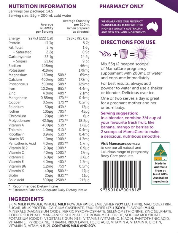 MamaCare pregnancy supplement nutritional information